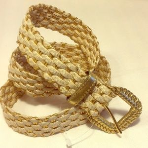 Accessories - Woven beige & gold metallic belt New WoT